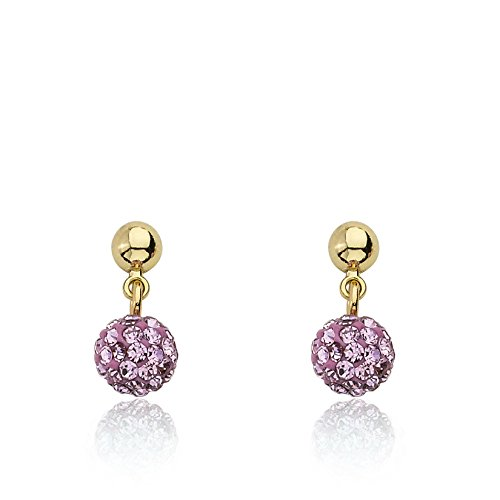 Molly Glitz Glitz Blitz 14k Gold-Plated Pink Crystal Ball Dangle Earring