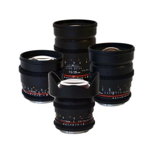 Rokinon 4 Cine Lens Kit For Canon EF MT Bundle. #ROKINON 4 KITCA by Rokinon