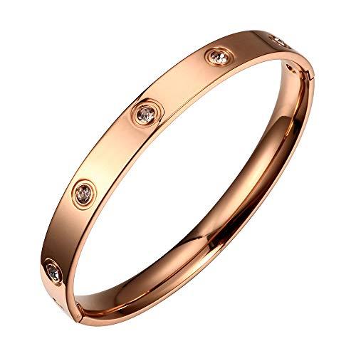 - Designer Inspired Titanium Steel Love Bracelet with Swarovski Crystals (Rose Gold)