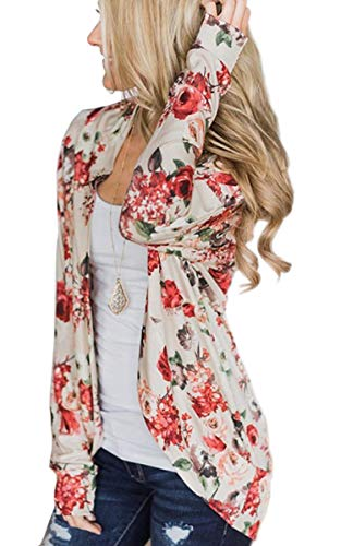 ECOWISH Womens Boho Irregular Long Sleeve Wrap Kimono Cardigans Casual Coverup Coat Tops Outwear,Crescent White, US S