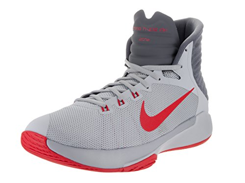 NIKE Men's Prime Hype DF 2016 Wolf Grey/University Red/Dark Basketball Shoe 12 Men US (Nike And Tops Red Grey High)
