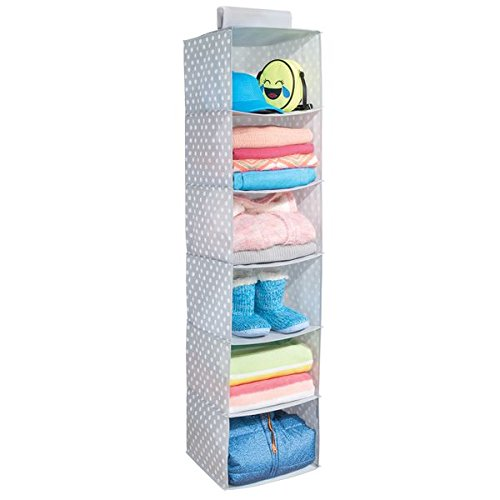 mDesign Soft Fabric Over Closet Rod Hanging Storage Organizer with 6 Shelves for Child/Kids Room or Nursery - Polka Dot Pattern - Light Gray with White Dots