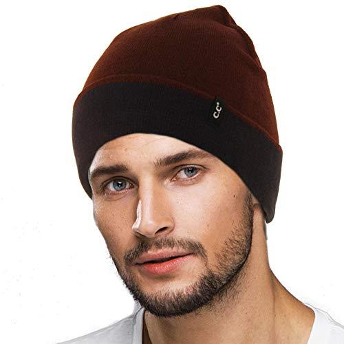(Men's Reversible Winter Soft Knit Stretchy Warm Beanie Skull Ski Hat Cap 2tone Wine/Navy)
