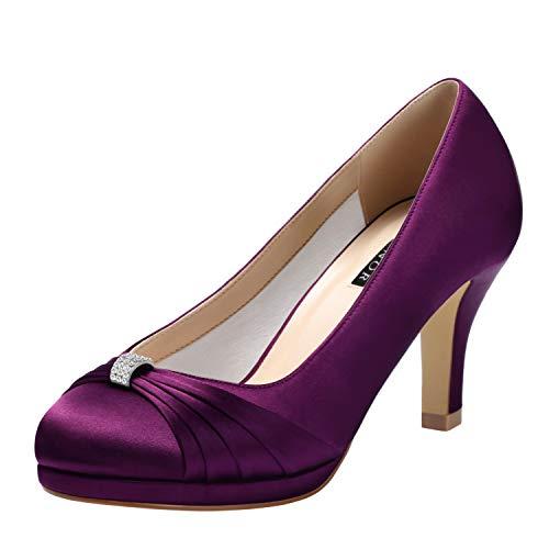 ERIJUNOR E0113 Women Comfortable Mid Heels Pumps Closed Toe Rhinestone Brooch Satin Evening Prom Wedding Shoes Plum Size10