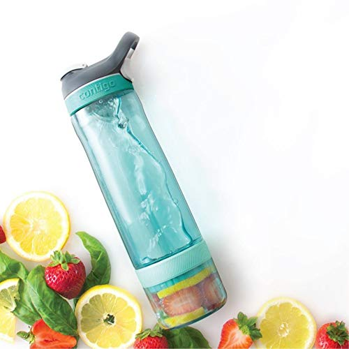 Scuba 2 Pack BPA Free /& Dishwasher Safe Contigo AUTOSPOUT Straw Ashland Water Bottles w//Infuser Perfect for Adding Fruit 26oz Vegetables Create Healthy Water Infused Drinks Herbs