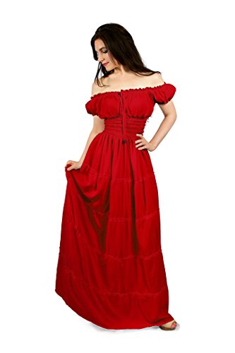 Red Renaissance Dress (Renaissance Boho Peasant Hippie Maxi Tiered Dress (Red))