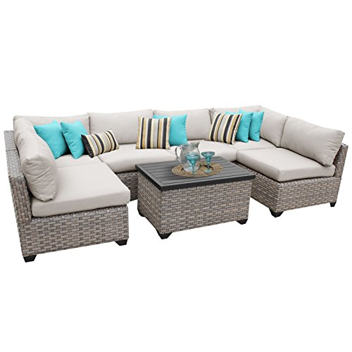 TK Classics MONTEREY-07a 7 Piece Monterey-07A Outdoor Wicker Patio Furniture Set, Beige