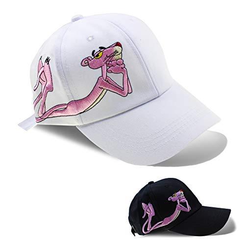 Women Cotton/Embroidered Caps Butterfly Hat Baseball Sport Golf Adjustable Sun Hat Baseball Running Cap Sunhat (Pink Panther White)