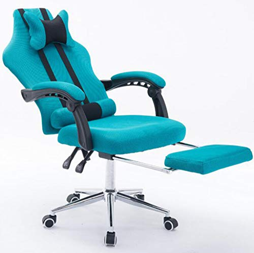 E-Sports Chair Gaming Chair,Ergonomic Recliner High-Back Height Adjustable Massage Lumbar Swivel Rocker Headrest Retractable Footrest Lumbar Support,Multifunction PC Chair,Blue