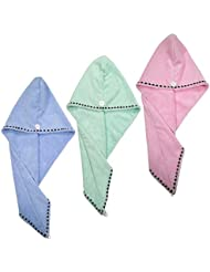 Polyte Microfiber Hair Turban Wrap Drying Towel, 10 x 26 in, 3 Pack (Light Blue, Green, Pink)