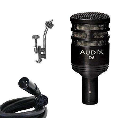 Audix D6 Microphone Bundle with XLR Cable and Drum Rim Mic Clip by Audix