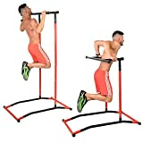 GoBeast Pull Up & Dip Station, Portable Steel Power Tower, Includes Carry Bag, Requires No Tools, Workout Inside or Out, Improve Core Stability With Body-weight workouts, Max User Weight 240lbs!