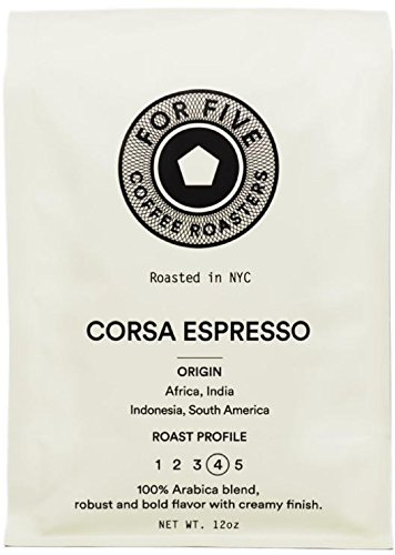 For Five Coffee Roasters Corsa Espresso Dark Roast (Origin: Africa, India, Indonesia, South America), Ground 12 oz by For Five Coffee Roasters