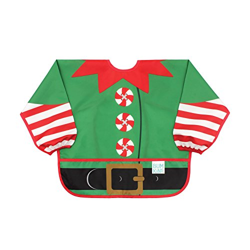Bumkins Sleeved Bib / Baby Bib / Toddler Bib / Smock, Elf Costume, Waterproof, Washable, Stain and Odor Resistant, 6-24 Months