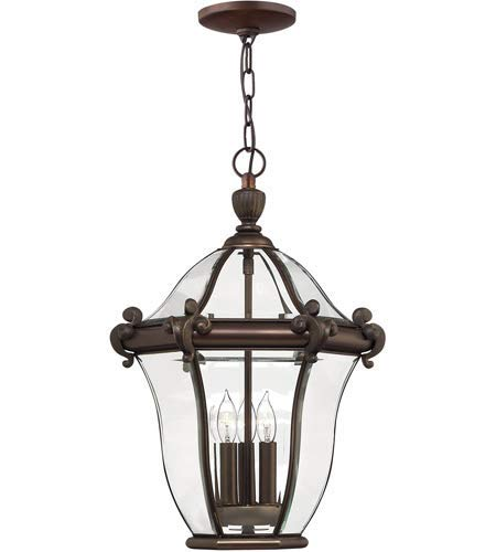 Outdoor Pendant 3 Light Fixtures with Copper Bronze Finish Solid Brass and Aluminum Material Candelabra 14