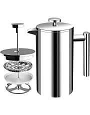 Fransk kaffepress – dubbelvägg 100 % rostfritt stål – (32 oz) – av KICHLY