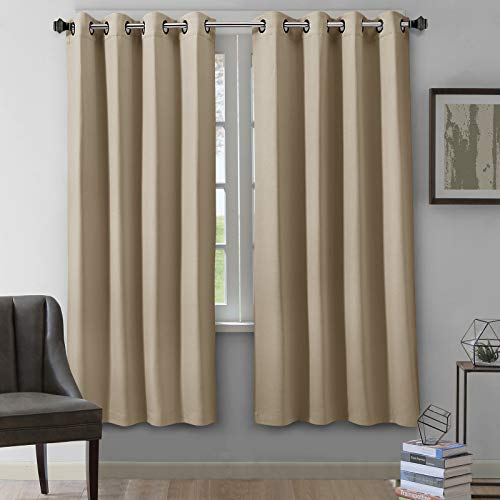 VEEYOO Room Darkening Curtains Grommet Blackout Window Curtains and Drapes for Living Room and Bedroom, 2 Panels, 52