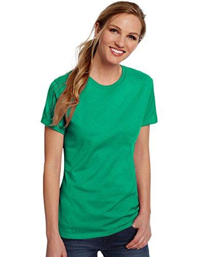 Hanes Womens 100% Ringspun Cotton Nano-T T-Shirt (SL04) -Kelly Gree -L by Hanes