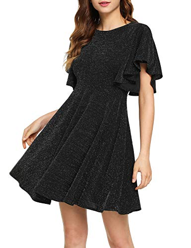 Romwe Women's Stretchy A Line Swing Flared Skater Cocktail Party Dress Black# S]()