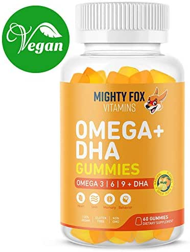Vegan Omega 3 6 9 + DHA Gummies for Kids - with Vitamin C for Heart Health, Cognitive Development, Behavior and Vision