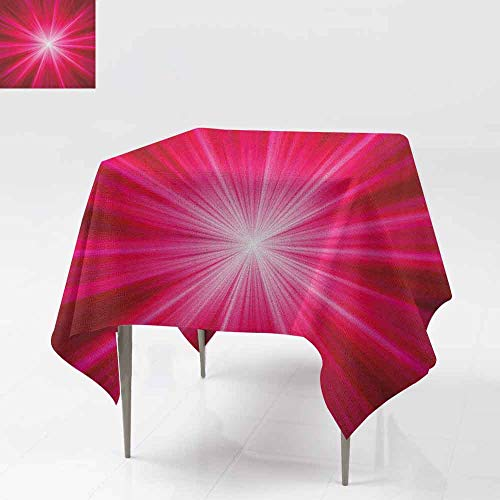 DUCKIL Oil-Proof and Leak-Proof Tablecloth Abstract Image Lively Burst Rays Sunbeams Inspired Futuristic Image Excellent Durability W60 xL60 Red Hot Pink and White