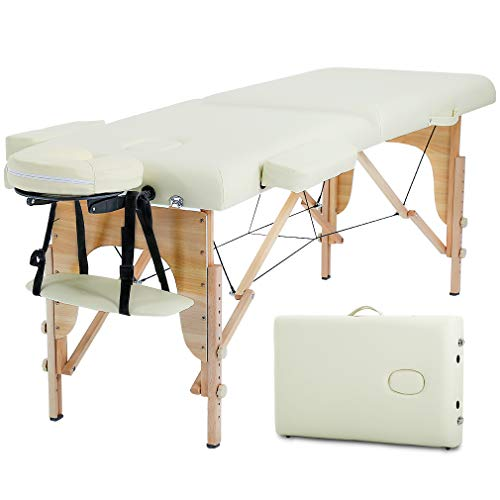 Massage Table Massage Bed Spa Bed Height Adjustable Salon Bed 73 Inch Portable Massage 2 Folding Table W/Carry Case Face Cradle Bed