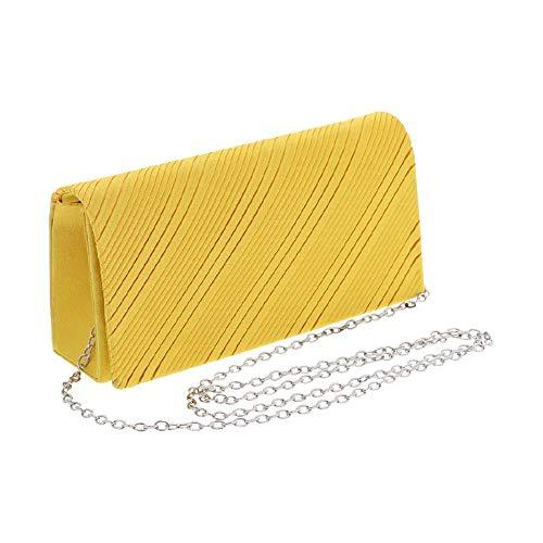 Women's Wallet Yellow Satin Purse Evening Handbag Girls -