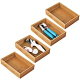 countertop tray wood mDesign Bamboo Kitchen Cabinet Drawer Organizer Stackable Tray Bin - Eco-Friendly, Multipurpose - Use in Drawers, on Countertops, Shelves or in Pantry - 9
