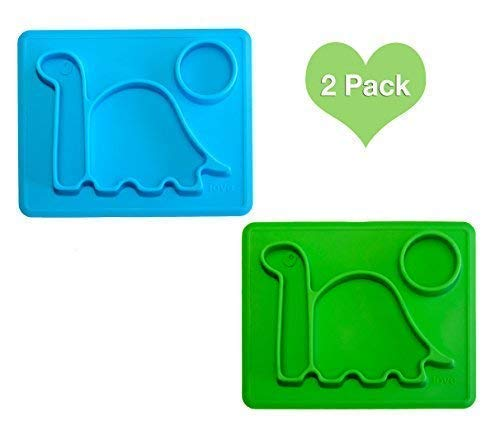 Silicone Placemat Toddler Plates 2-Pack - The Happy Good Dino Pad - from Freezer to Microwave to Table. Fits in a Ziplock Bag. (Blue & Green)