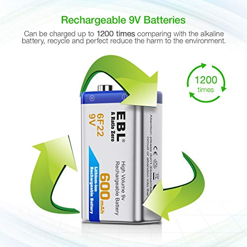 EBL 12-Counts Rechargeable 9V Batteries Li-ion 9V Battery by EBL (Image #3)