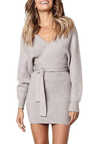 - Junxiang Women's Sexy V Neck Wrap Belted Batwing Long Sleeve Backless Pencil Bodycon Knitted Mini Sweater Dress