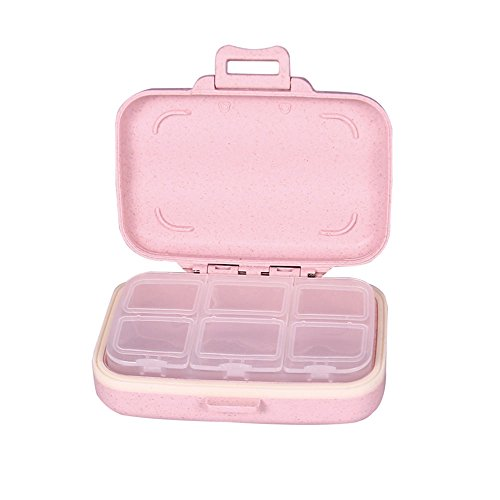 Small Weekly Pill Case-Cute Travel Vitamin Deep Oil Meds Daily Pill Organizer Box for Women Safe Plastic Material 6-Compartment 3-Open Tab-Pink By Yuan She