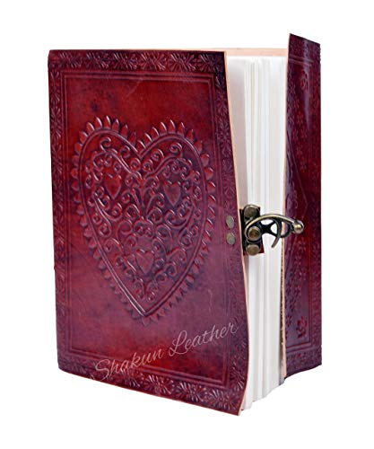 Last DAY - SALE Clearance 2019! Large Embossed Heart Journal Vintage Notebook Handmade Diary, Feat: Coptic Binding and Vintage Brass Lock, 100% Pure Leather with Free Shipping