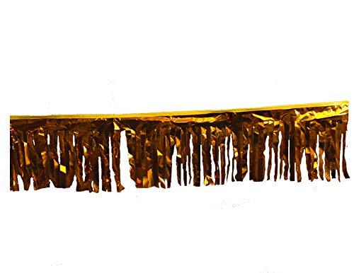60 ft Double-Stitched Hurricane Gold Metallic Fringe Pennant Long Lasting -