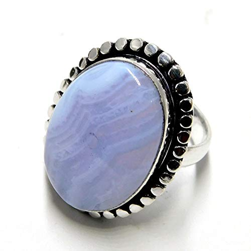 18.12 Carat Blue Lace Agate Jewelry 925 Sterling Silver Plated Ring US Size 7''