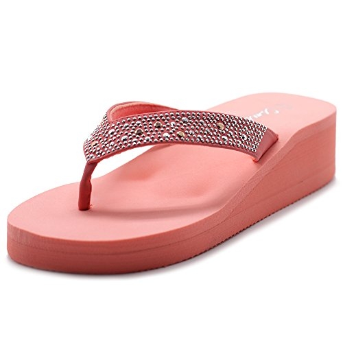 - Cammie Women Wedge Thong Sandal with Octagon Stud Straps (8 B(M) US, Pink)