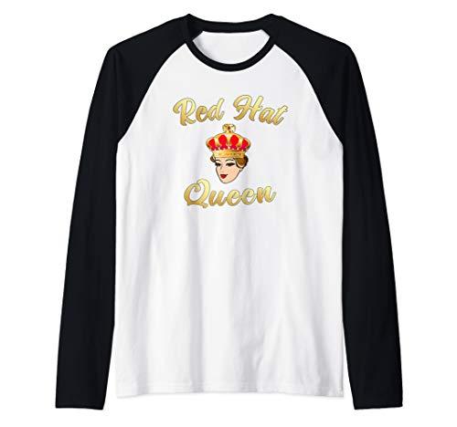 (Red Hat Society Queen Gift Raglan Baseball Tee)