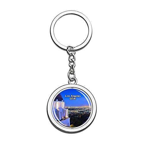 USA United States Keychain Griffith Observatory Los Angeles Key Chain 3D Crystal Spinning Round Stainless Steel Keychains Travel City Souvenirs Key Chain Ring -