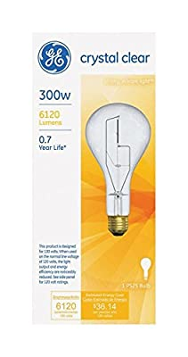 General Electric 20917 - 300 Watt General Purpose PS25 Incandescent Light Bulb, Inside Frost