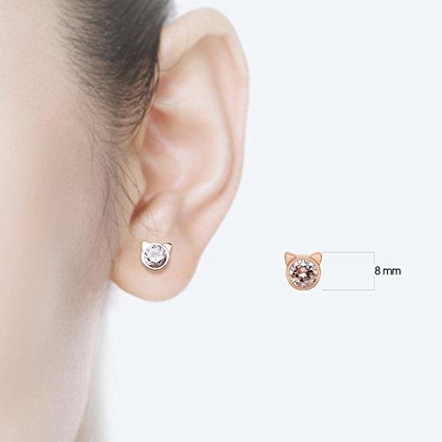 HANFLY Cat stud earrings Cat Ears Earrings Fashion earrings Rhinestone stud earrings (White Rhinestone) by HANFLY (Image #5)