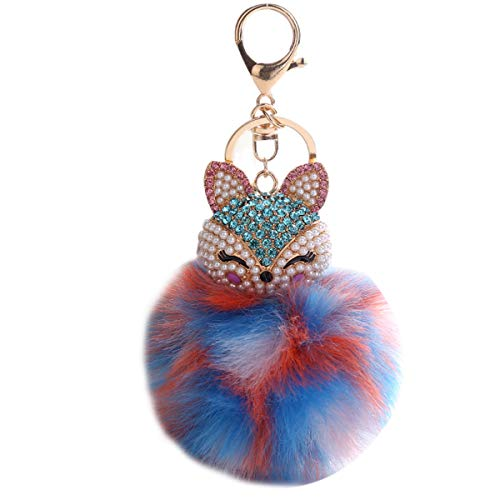 Multi Charm Keychain - Rhinestone Fox Key Chain Faux Fur Ball Key Ring for Bag Cellphone Car Pendant Sparkling Charm Keychain
