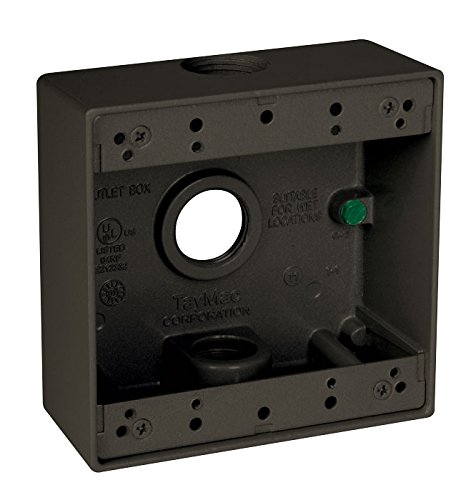 Taymac DB375Z 3/4-Inch 3 Hole 2-Gang Weatherproof Box, 3/4-Inch Outlets, Bronze