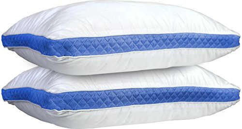 Back 2 Bed - Lux Decor Collection Gusseted Quilted Bed Pillow - Set of 2 Premium Quality Bed Pillows For Side and Back Sleepers (Queen, Blue Gussets)