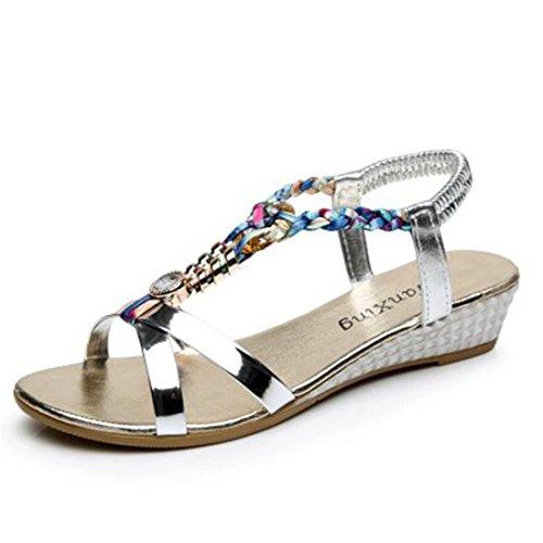 Sandalen Damen LHWY Sommer Flache Sandalen Frauen Mode Lässig Sandalen Vintage Retro Strand Schuhe Keilabsatz Heels Peep-Toe B