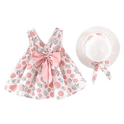 (FEITONG Toddler Girls Sleeveless Strap Dress Dot Print Bow Princess Dresses with Hat Outfits Clothes Set(Pink,18-24M))