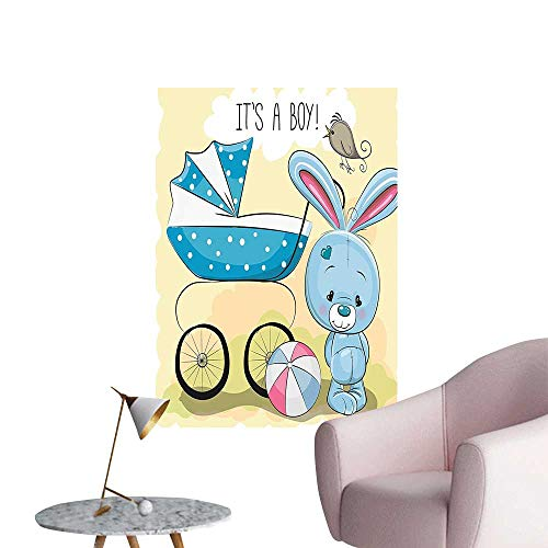 (Wall Decorative Cute Bunny Baby Carriage and Its Boy Kids Avocado Green Blue Pictures Wall Art Painting,32