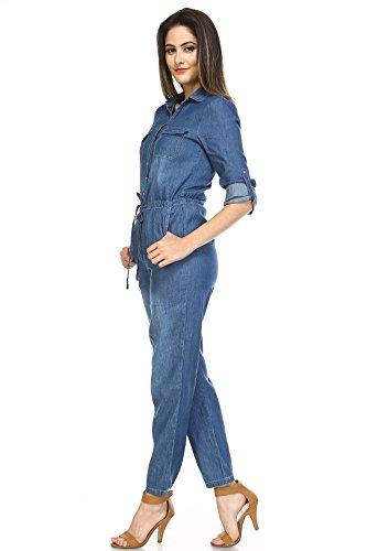 Boteley+Fashion+Belted+Adjustable+Long+Sleeve+Collared+Denim+Jumpsuit+Women+%28Large%2C+Denim+Blue%29