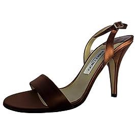 """Jimmy Choo""""AEON"""" Satin & Leather Copper Stiletto Sandal's ~ Size 6.5 (Euro 40)"""