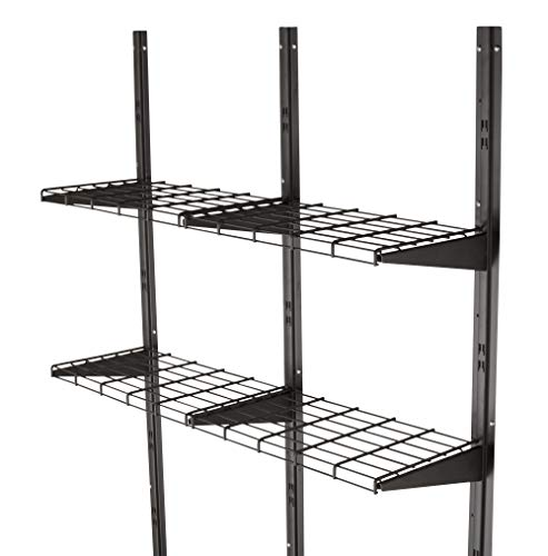 (Suncast Shelf System - Storage Shelving for Suncast Shed, Garage, Indoors and Outdoors - Two Shelves and Brackets Holding 50 lbs. of Garden Supplies, Tools, Toys, Outdoor Accessories - Black )