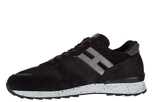 Hogan scarpe sneakers uomo camoscio nuove r261 nero